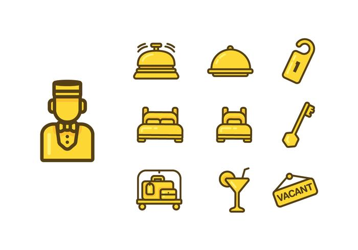 Conciërge Pictogram Vector Set