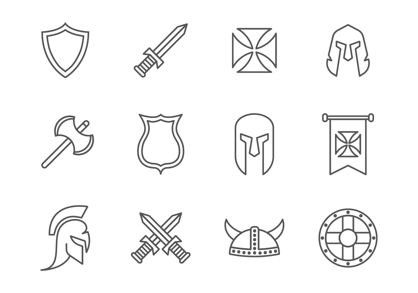 Simple Vector Line Art : Free simple line medieval war knight templar icons