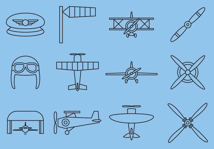 Retro Airplane Line Icons