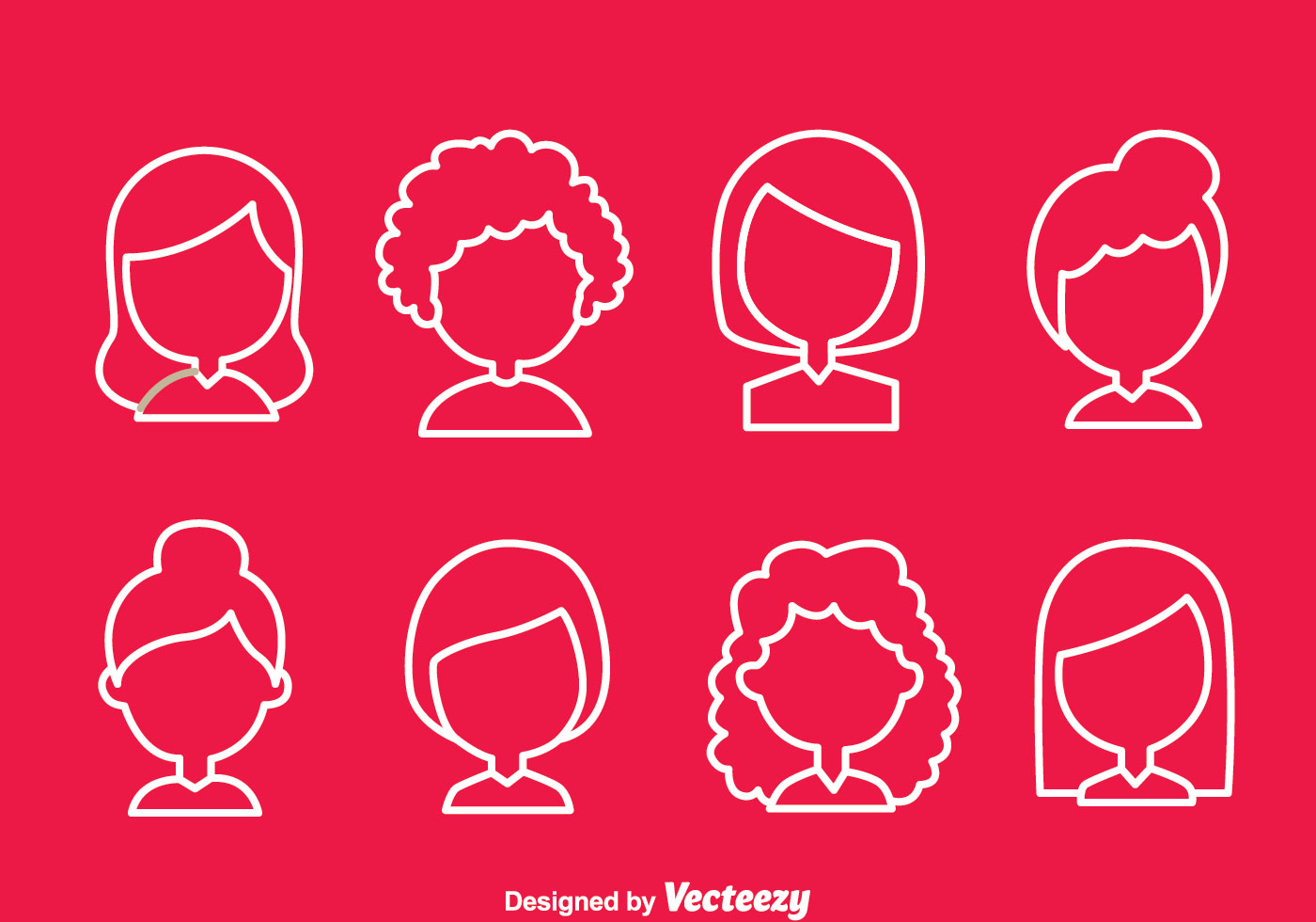 Hairstyle Vector: Woman Simple Hair Style Icons