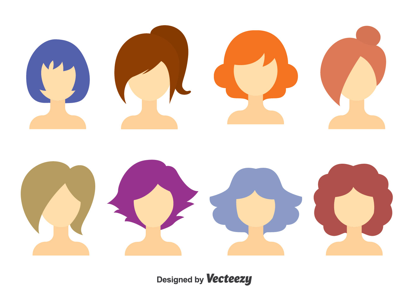 Hairstyle Vector: GIrl Hair Style Collection Vector