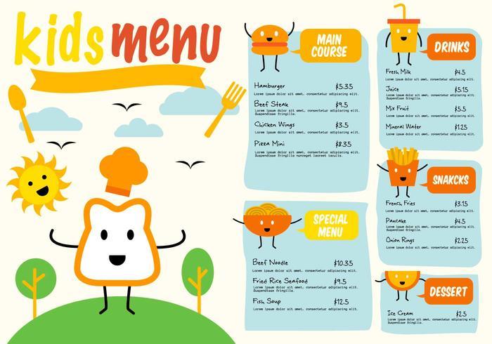 Vector grátis de menus para crianças