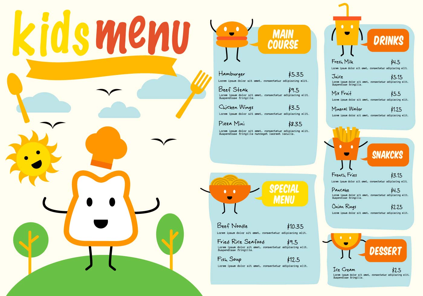 kids menu free vector art 3995 free downloads