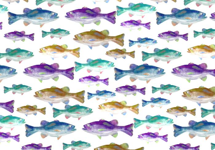 Fundo livre de peixe de aquarela de vetor grátis