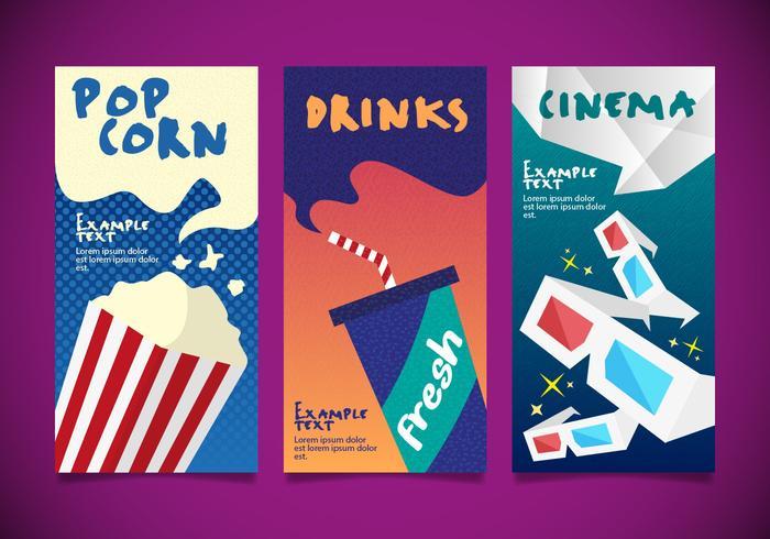 Popcorn Cinema Designs Templates Vector