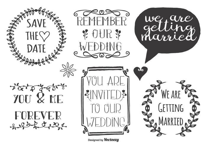 Etiquetas bonitas do Doodle do casamento