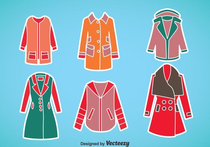Woman Winter Coat Vector Set