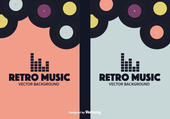 Retro Musik Bakgrunder Vektor Set