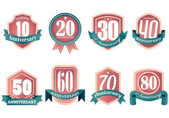 Libre Aniversario Iconos Vector