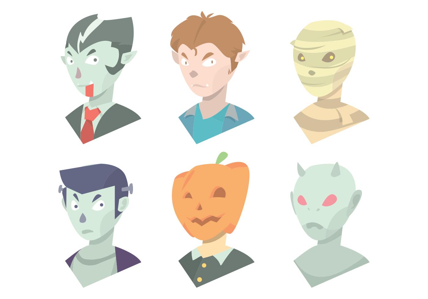 Halloween Mask Vector Set - Download Free Vectors, Clipart ...