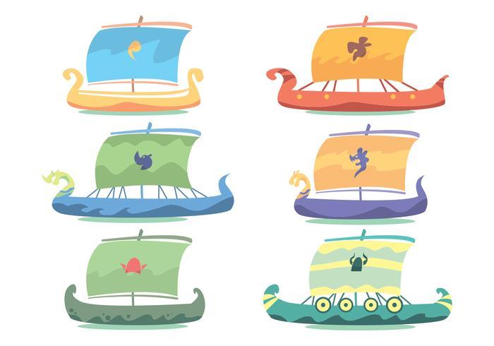 Viking ship vector set