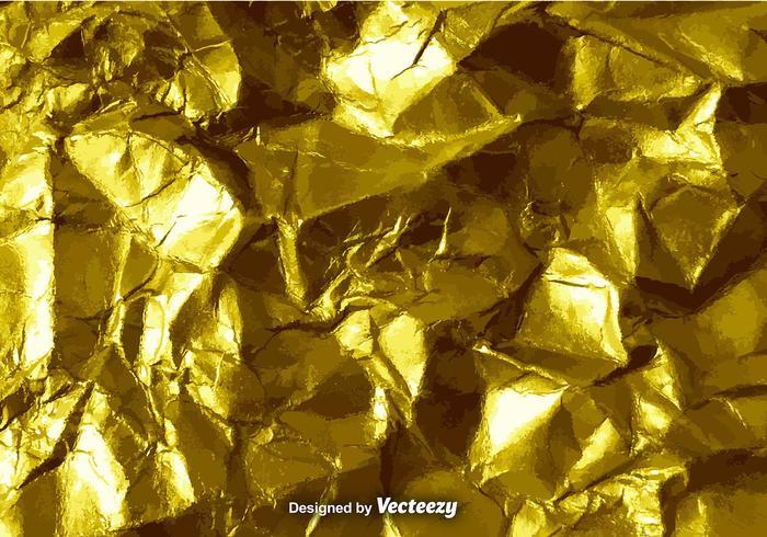 Textura de papel amassada com ouro vetorial