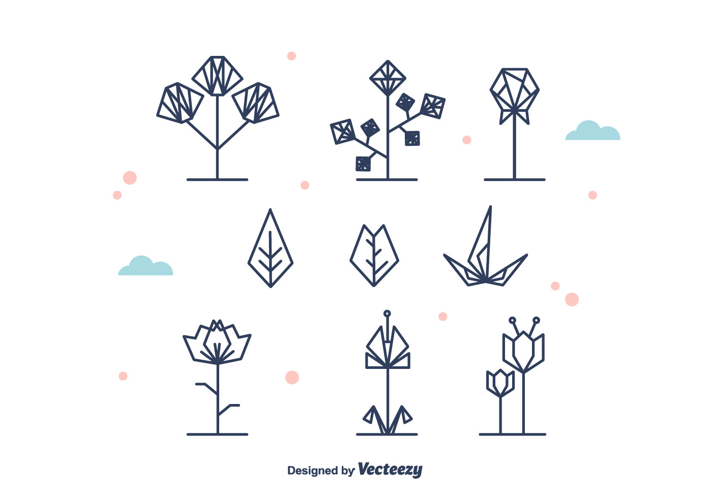Geometrical Flowers And Leaf Vector Download Free Vector