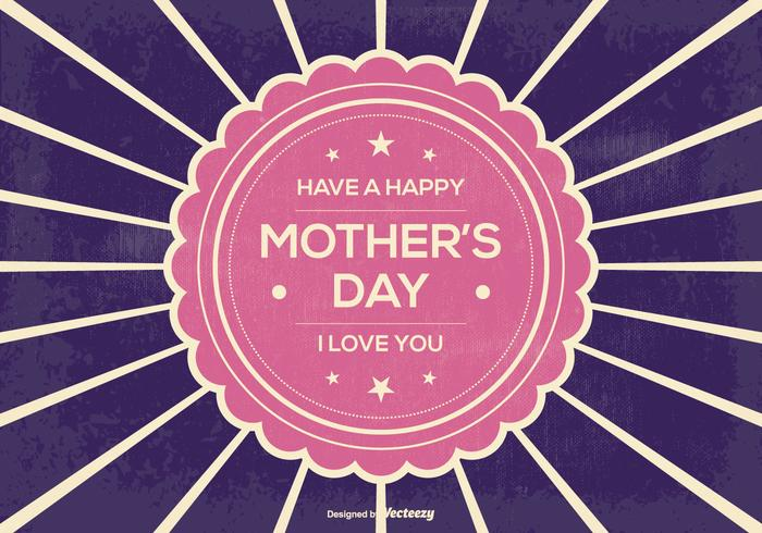 Retro Sunburst Mother's Day Illustration