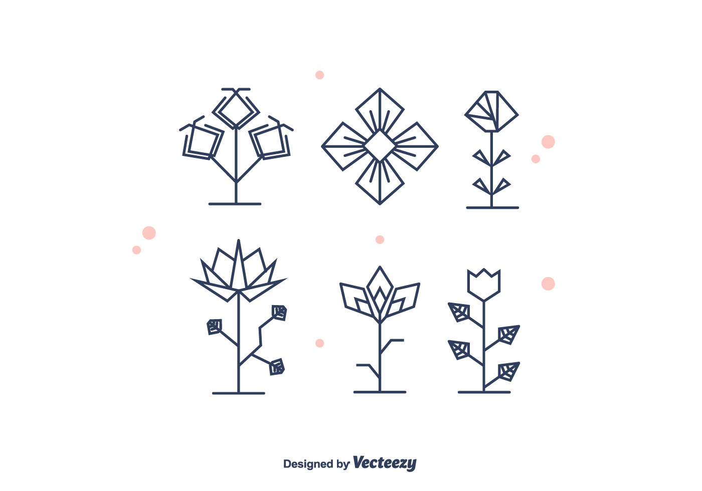 Geometrical Flowers Vector Download Free Vector Art
