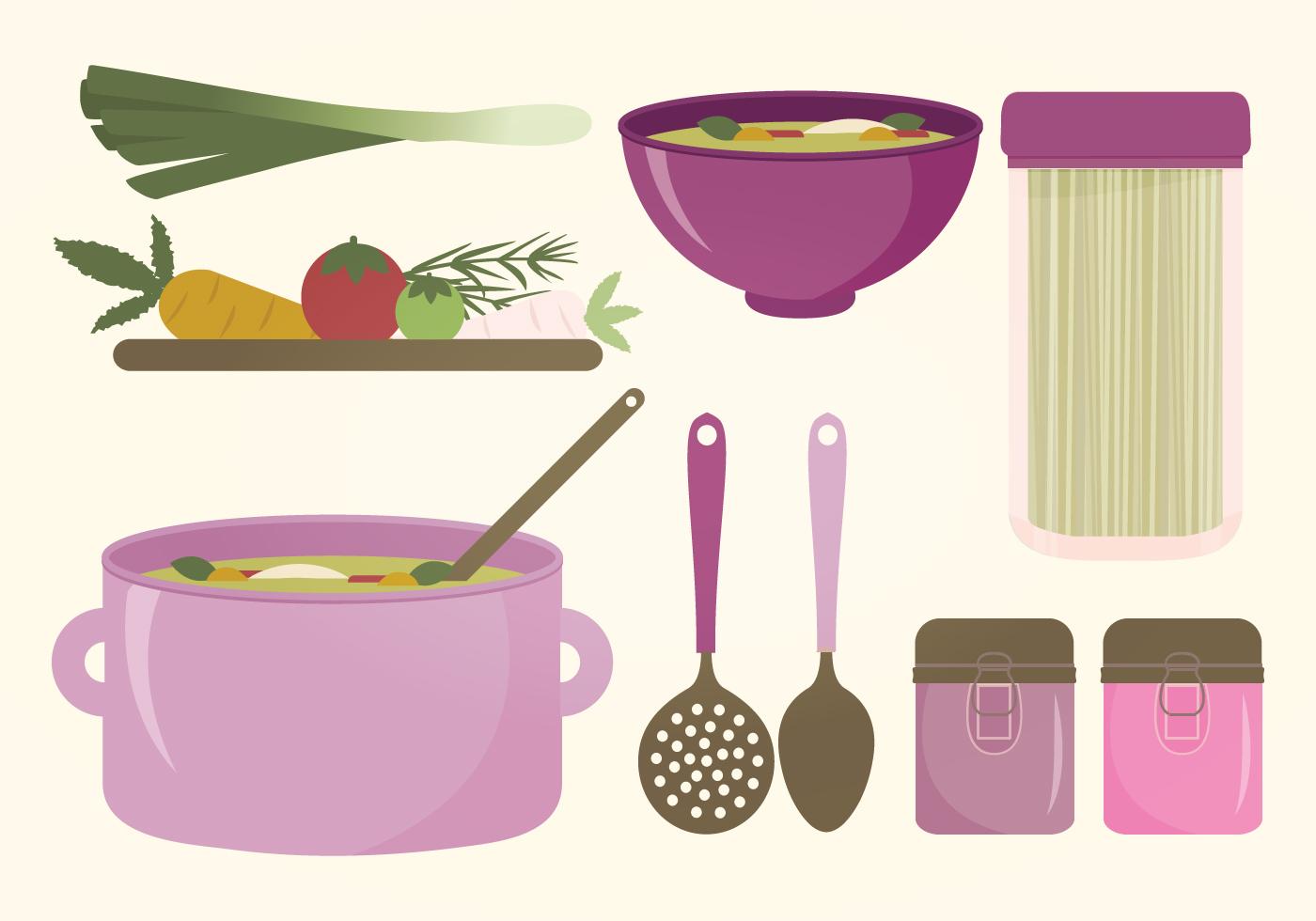 Kitchen elements vector set download free vector art for Kitchen set vector