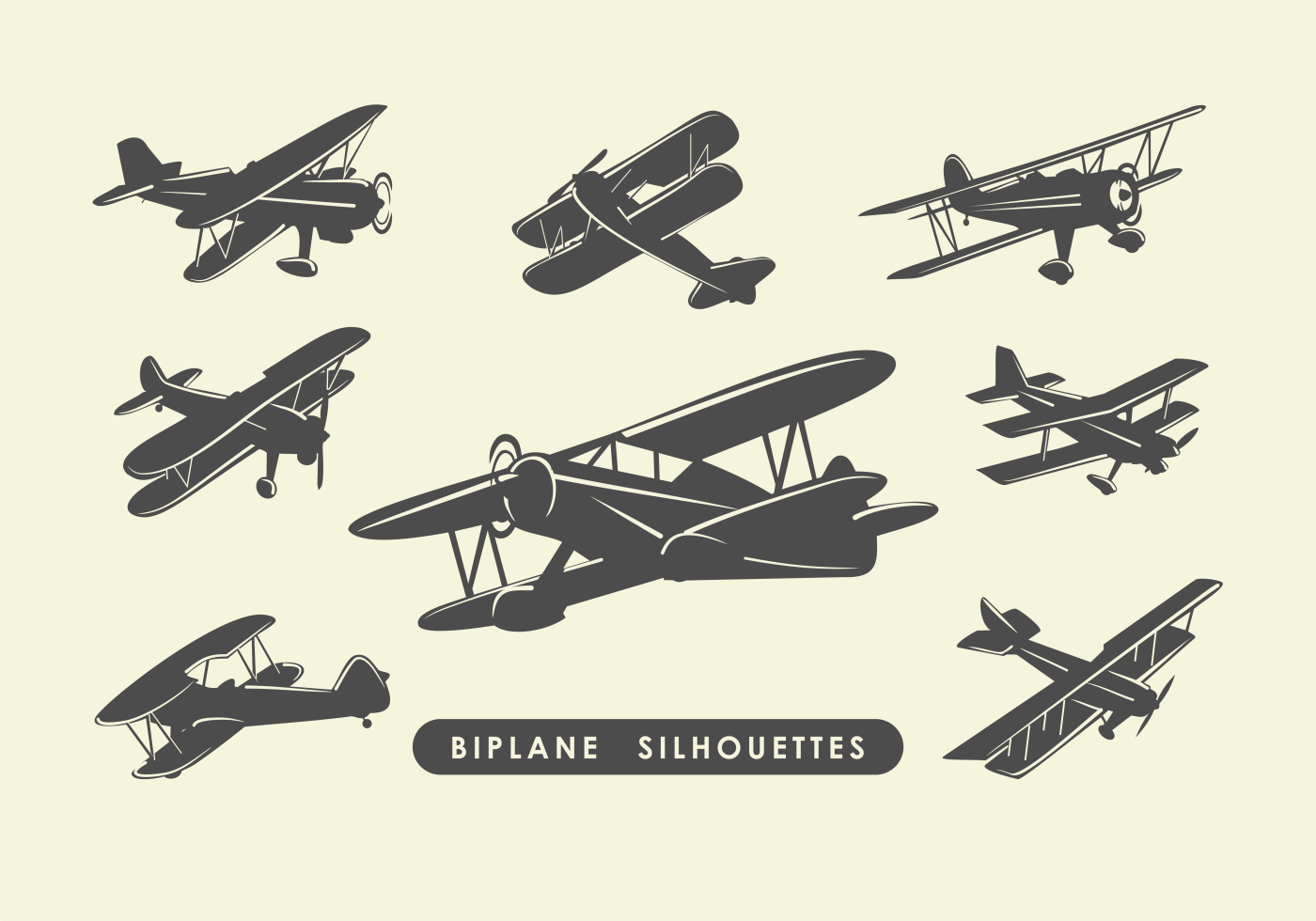 Biplane Silhouettes Download Free Vector Art Stock