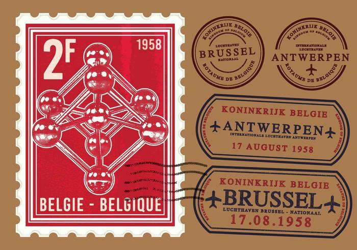 Atomium brussel stamp vector