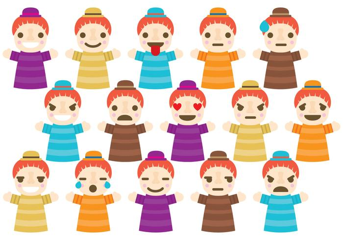 Marionet emoticons vector
