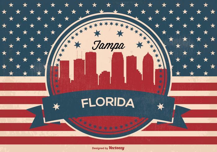 Retro Tampa Florida Skyline Illustration