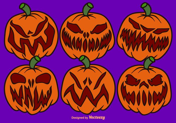 Vector Cartoon Pumpkin Set