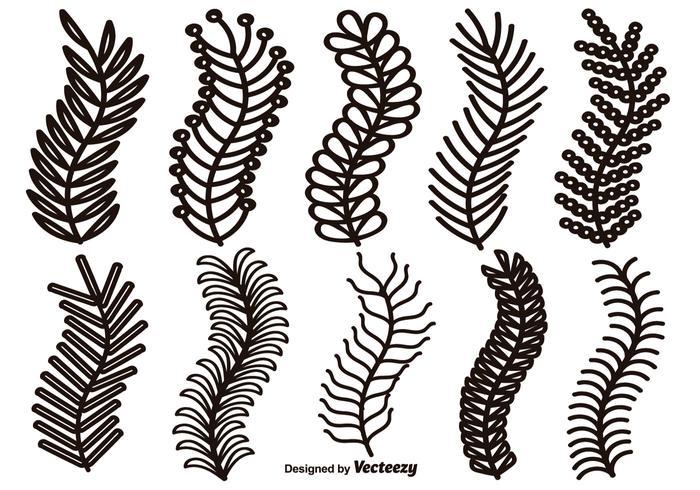 Bordas de linhas desenhadas à mão do vetor, Elementos de design Laurel