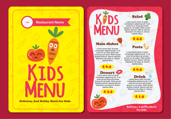 Cute Colorful Kids Menu Template Download Free Vector Art Stock