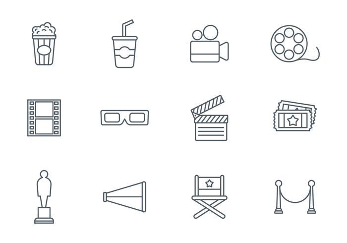 Line Art Icons Free : Free movie line icon set vector download art