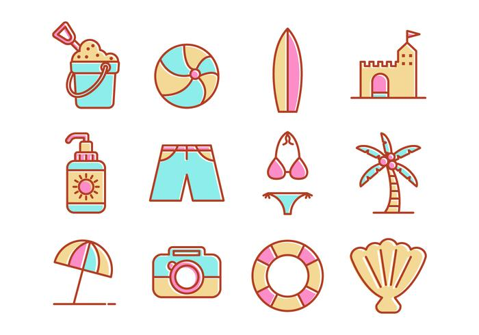 Free Beach Line Icons Vector