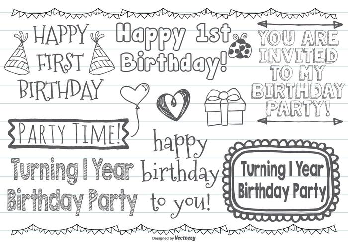 Cute First Birthday Vector Doodles