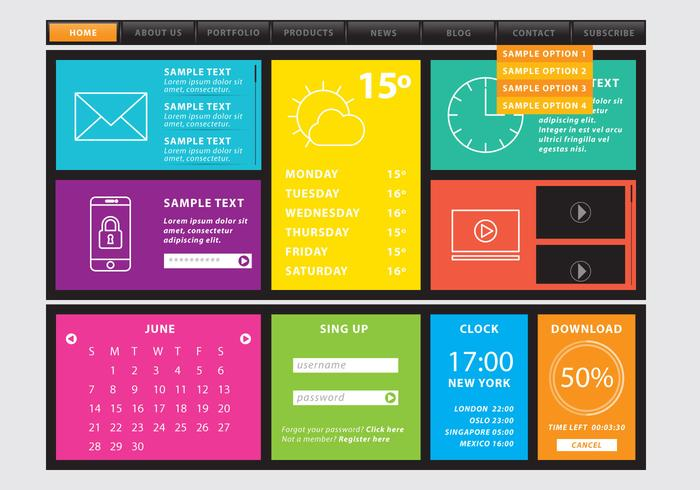 Web Template With Colorful Sections