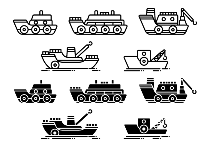 Tugboat Vector Icons
