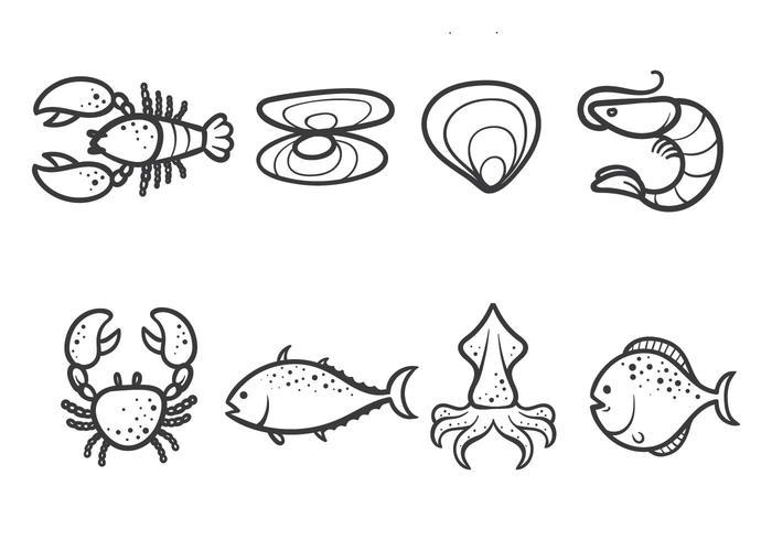 Libre vectores de mariscos