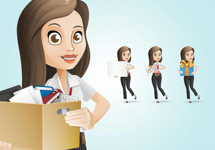 Charming Business Woman Character Set