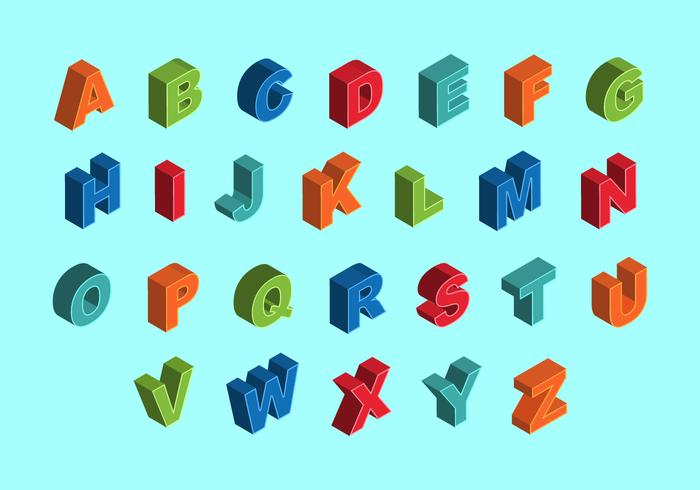 Free Colorful Isometric Alphabet Vectors