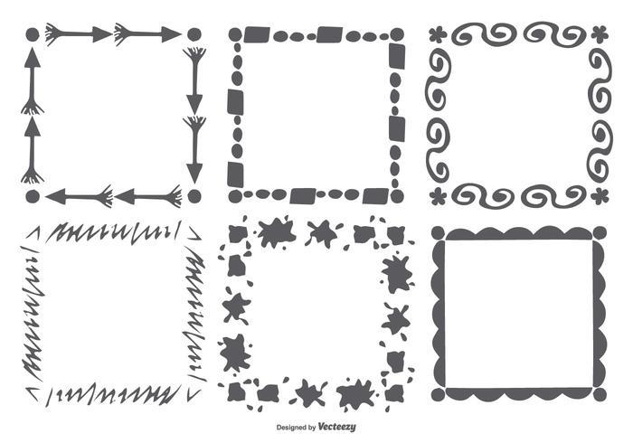 Conjunto de marco de estilo dibujado a mano vector