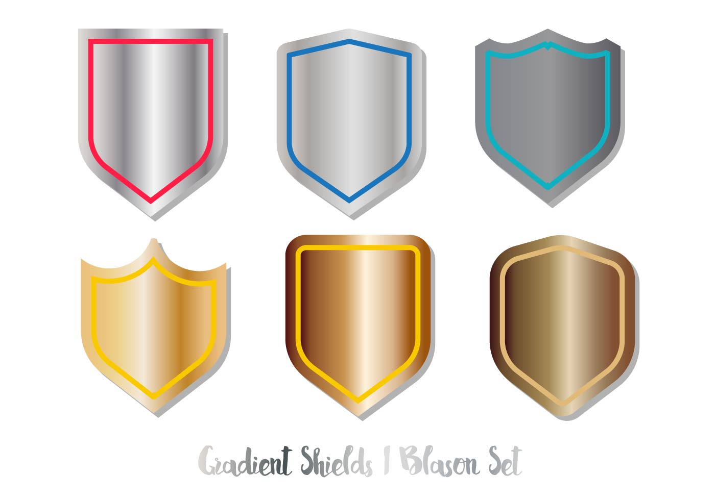 blason shield vector set gradient