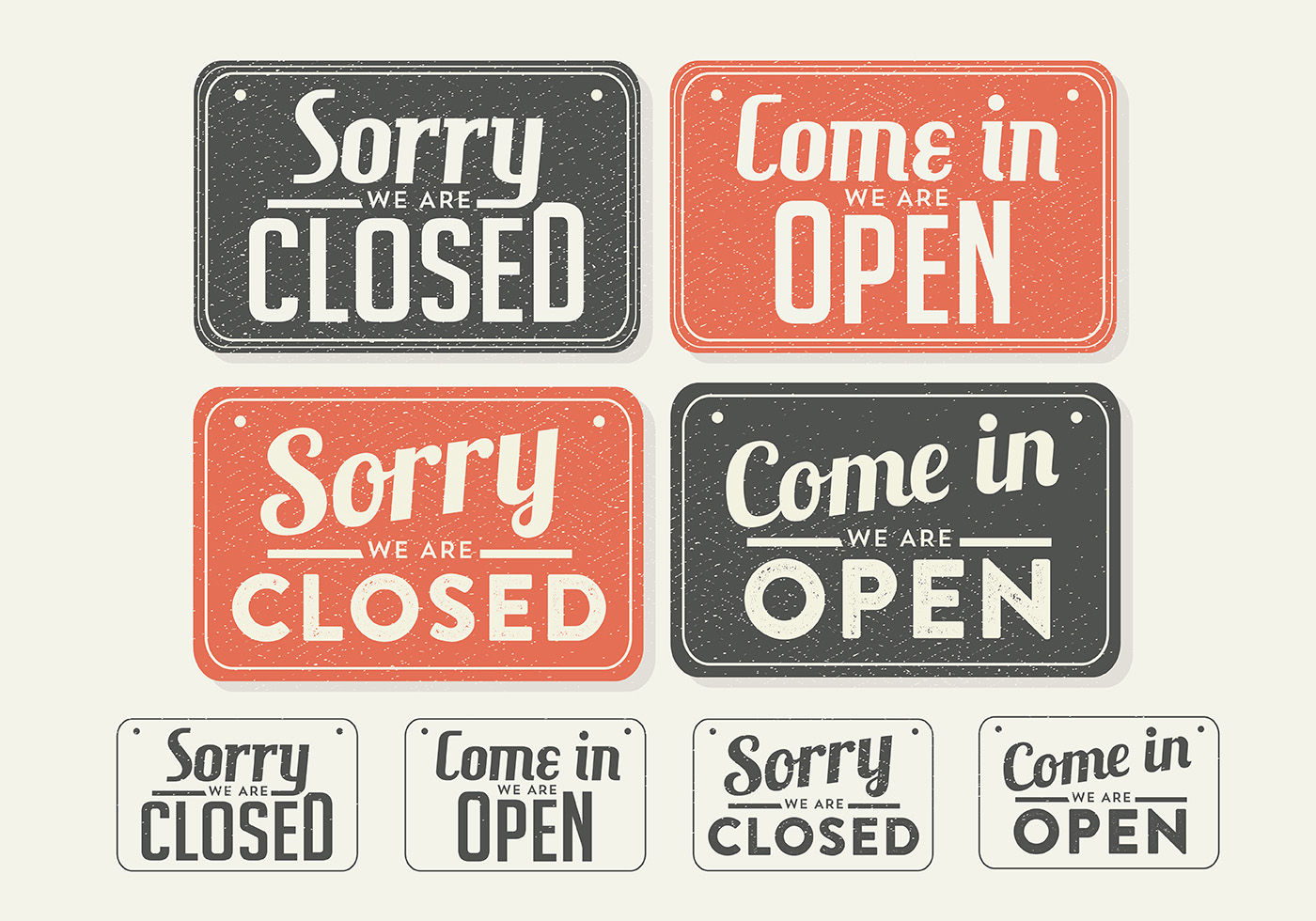 Free vintage sign open and closed vector download free for Open closed sign template