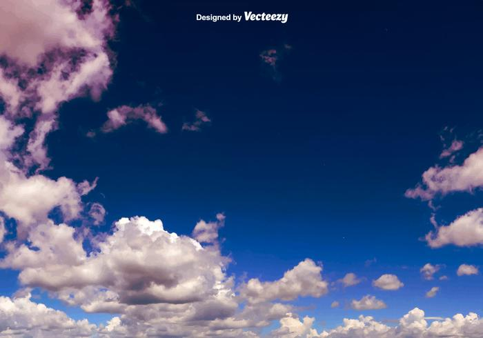Vector Dark Blue Sky With Clouds