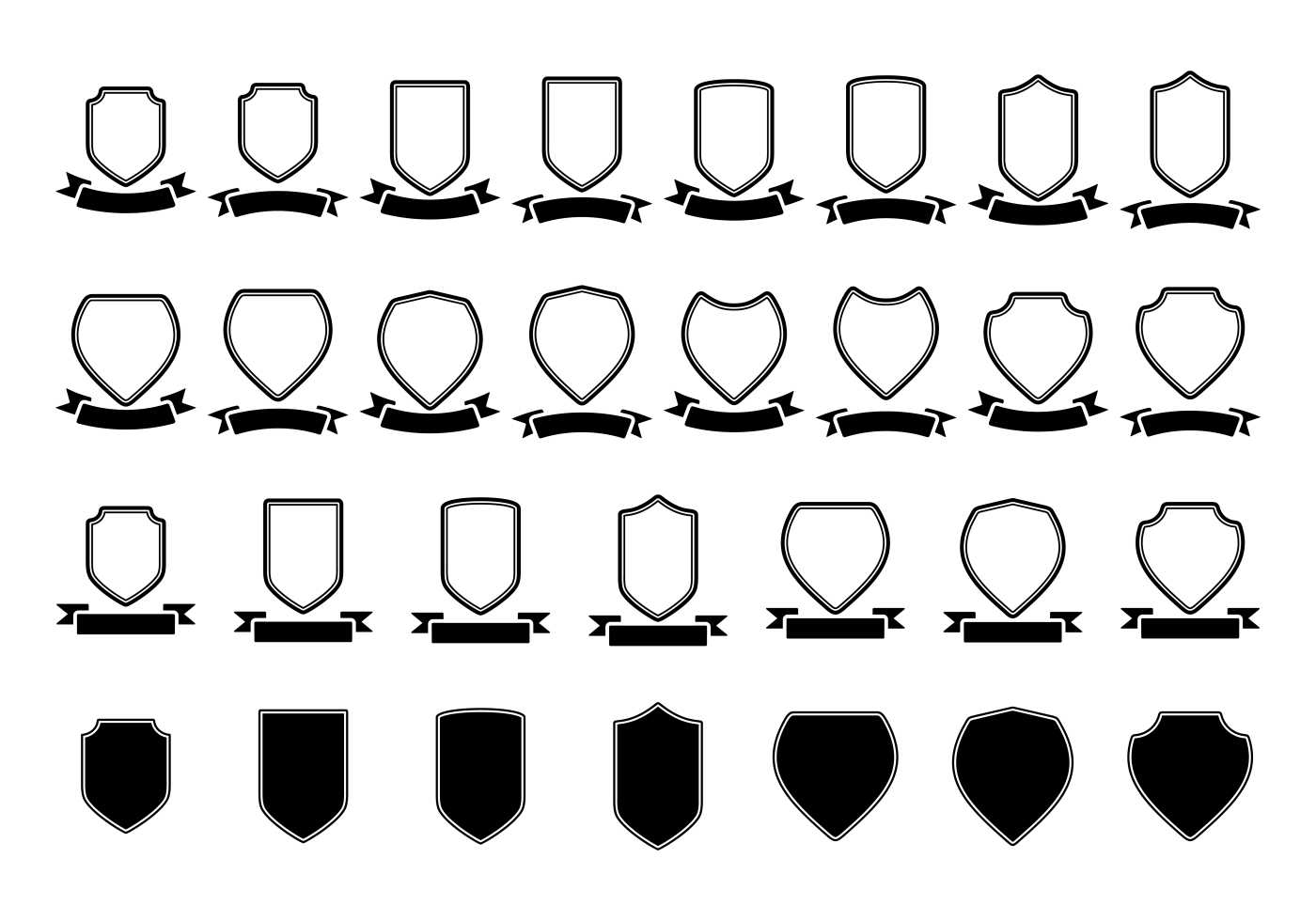 Blason / shield / ribbon vector template - Download Free Vector Art ...
