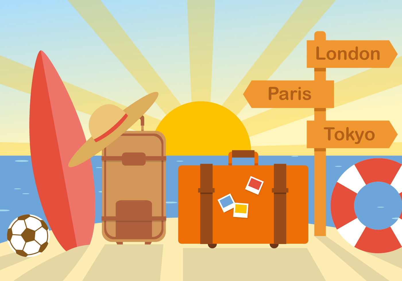 Free Flat Summer Travel Vector Download Free Vector Art