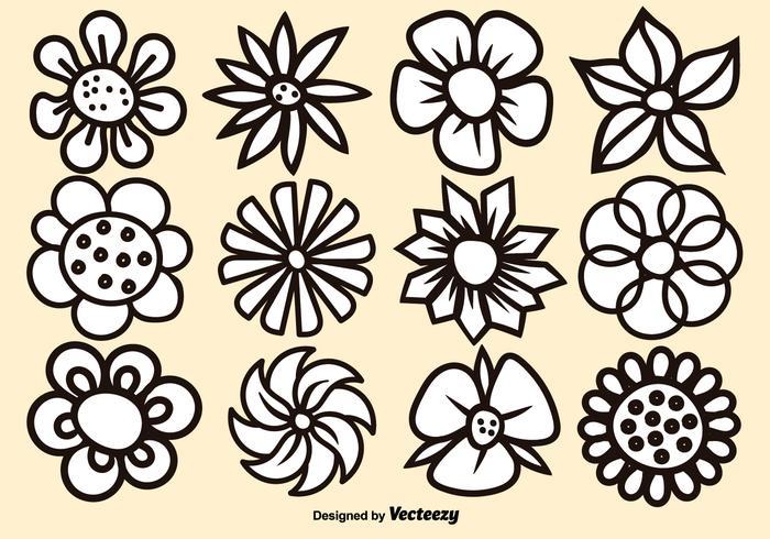 Vector Cartoon Flower Set