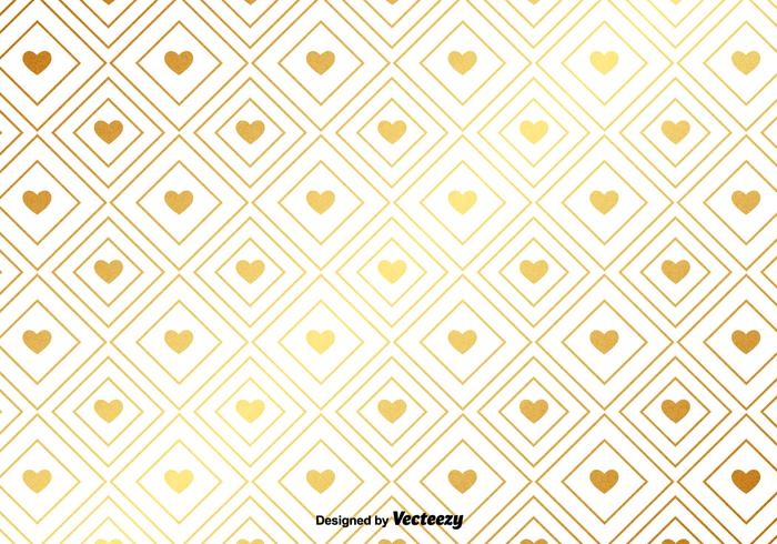 Vector Gold Pattern With Golden Hearts