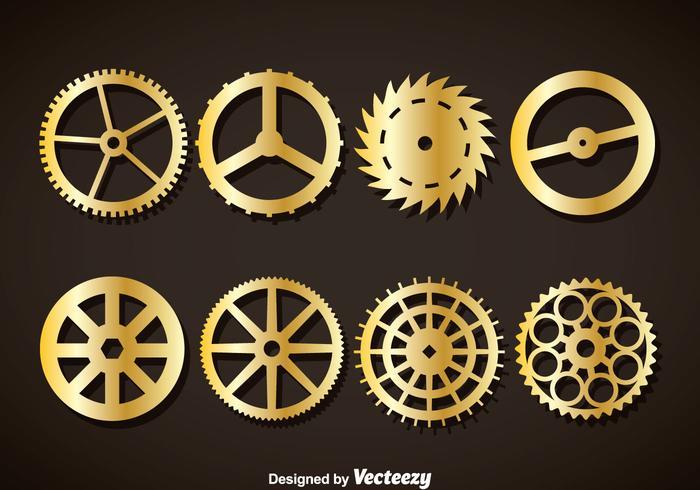Gold Clock Gears Vector