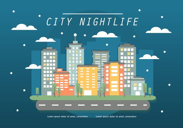 Free Flat Cityscape Vector Illustration