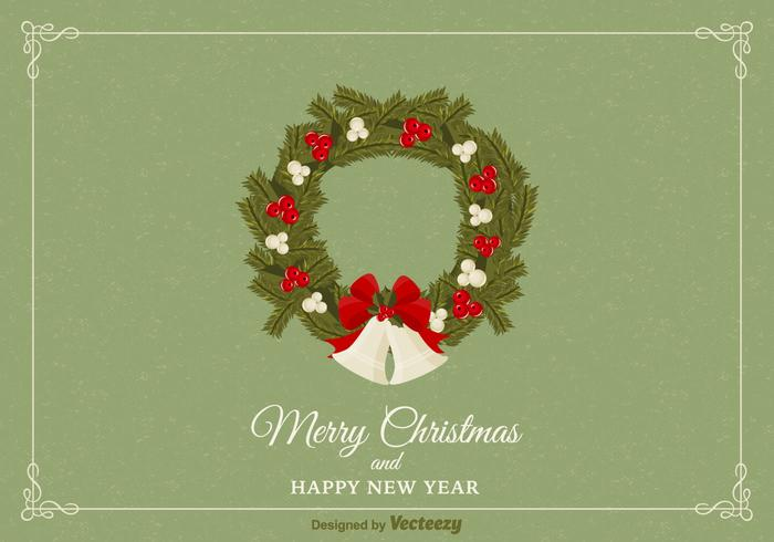 Free Christmas Wreath Vector Card