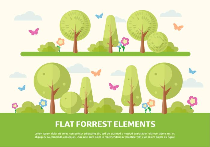 Flat Forrest Elements Vector Background