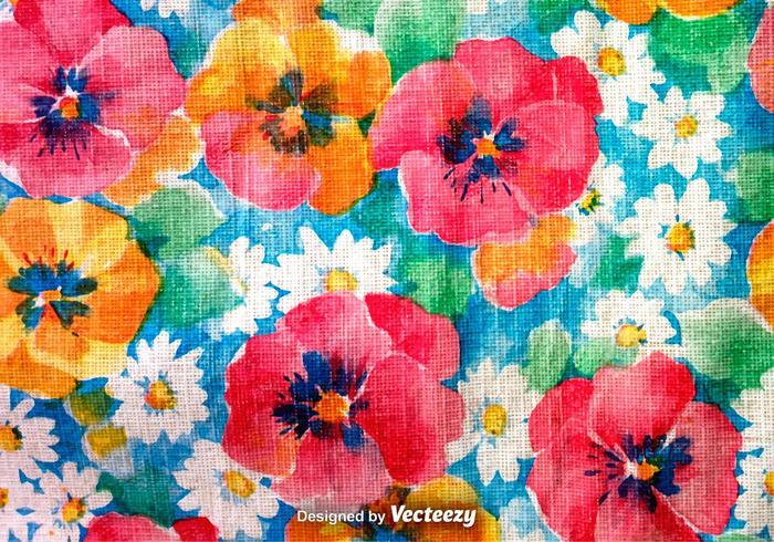 Hand getekende Retro Kleurrijke Bloemenachtergrond