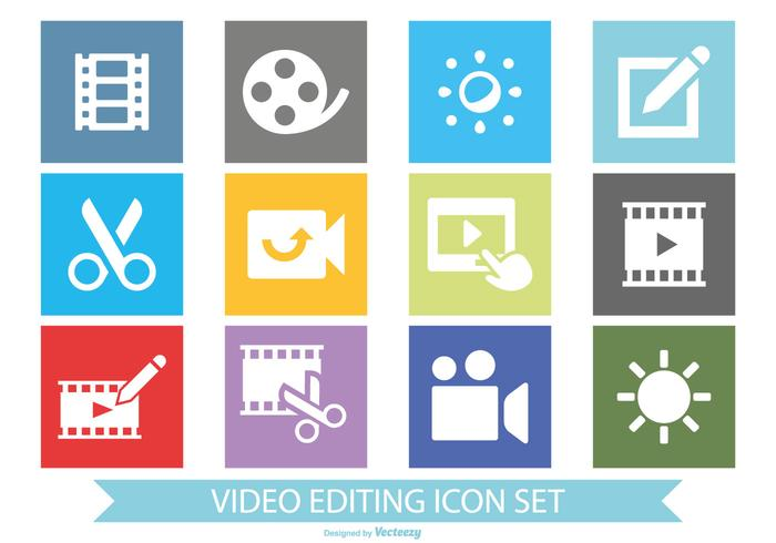 Flat Style Video Editing Icon Set