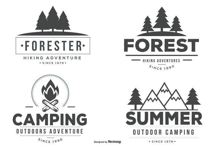 Typographic Camp Label Vectors